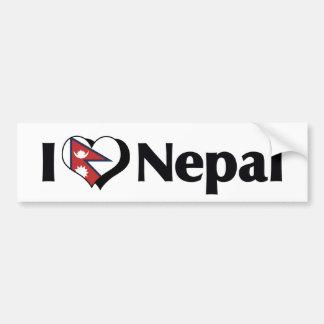 I Love Nepal Flag Bumper Sticker