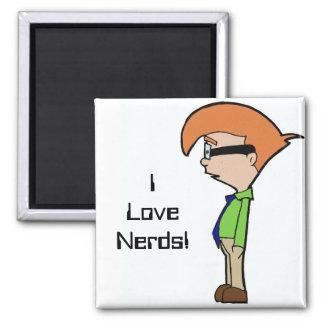 I Love Nerds! Square Magnet