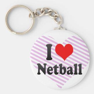 I love Netball Basic Round Button Key Ring