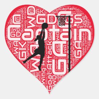 I Love Netball Design Heart Sticker