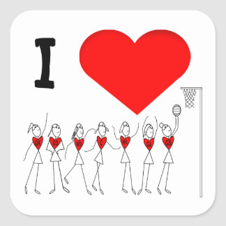 I Love Netball Positions Stick Figures Square Sticker