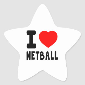 I Love Netball Star Sticker