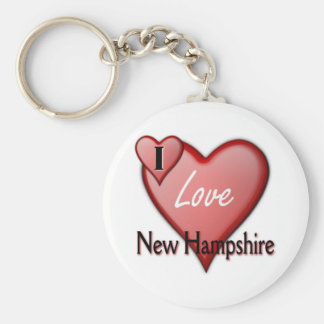 I Love New Hampshire Basic Round Button Key Ring