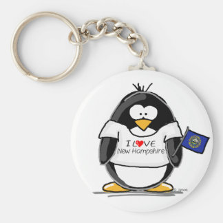 I Love New Hampshire Penguin Key Ring