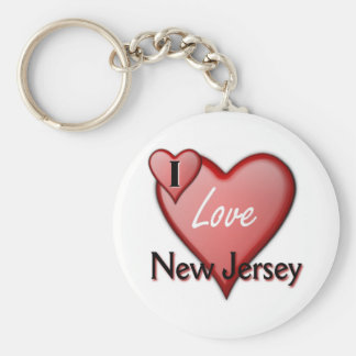 I Love New Jersey Basic Round Button Key Ring