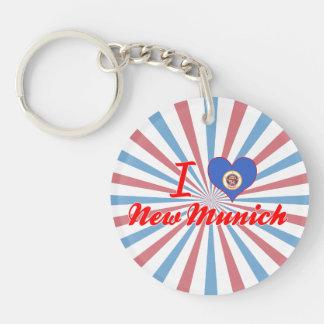 I Love New Munich, Minnesota Single-Sided Round Acrylic Key Ring
