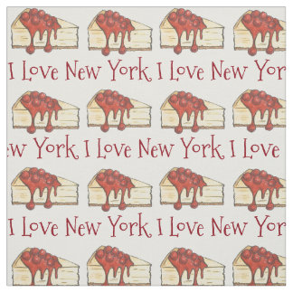 I Love New York City Cherry Cheesecake NYC Slice Fabric