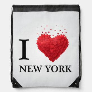 I Love New York Hearts Drawstring Bag