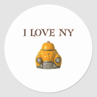 I Love New York Yellow Checkered Taxi Cab Classic Round Sticker