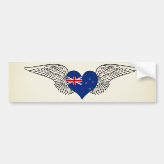 I Love New Zealand -wings Bumper Sticker