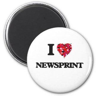 I Love Newsprint 6 Cm Round Magnet