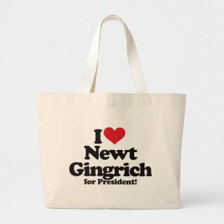 I Love Newt Gingrich for President Jumbo Tote Bag