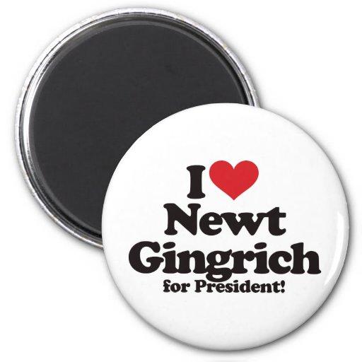 I Love Newt Gingrich for President Refrigerator Magnet