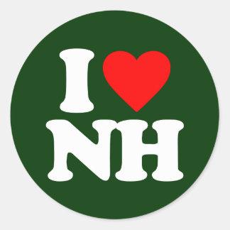 I LOVE NH ROUND STICKER
