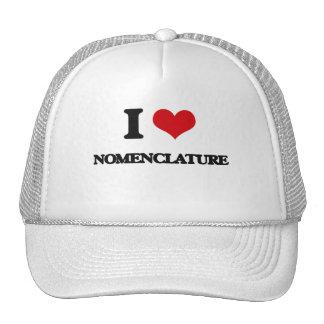 I Love Nomenclature Mesh Hats