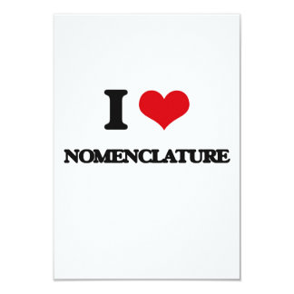 "I Love Nomenclature 3.5"" X 5"" Invitation Card"