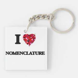 I Love Nomenclature Double-Sided Square Acrylic Key Ring