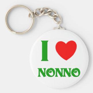 I Love Nonno (Italian Grandfather) Basic Round Button Key Ring