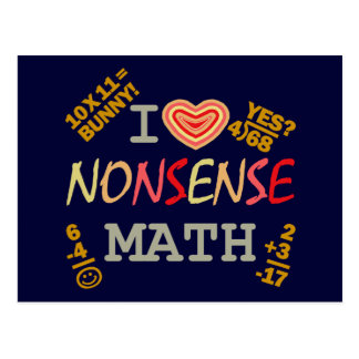 I Love Nonsense Math Postcard