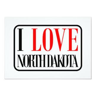 I Love North Dakota Design 5x7 Paper Invitation Card