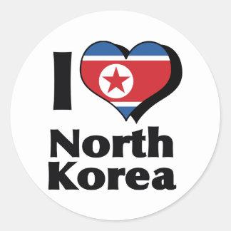 I Love North Korea Flag Classic Round Sticker