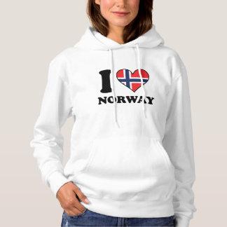 I Love Norway Norwegian Flag Heart Hoodie