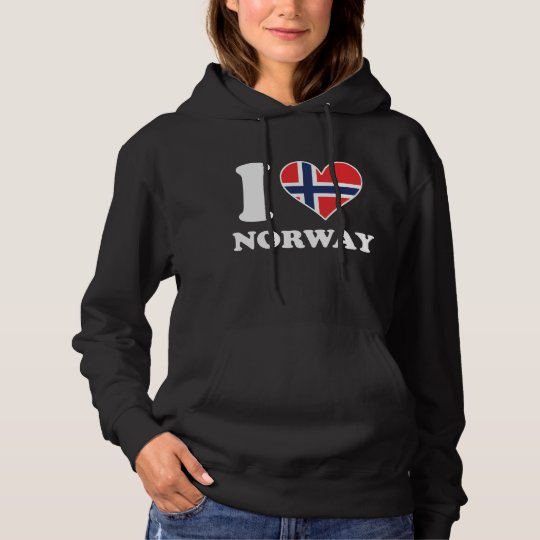 I Love Norway Norwegian Flag Heart Hoodie
