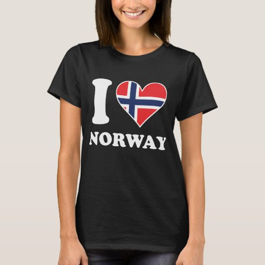 I Love Norway Norwegian Flag Heart T-Shirt