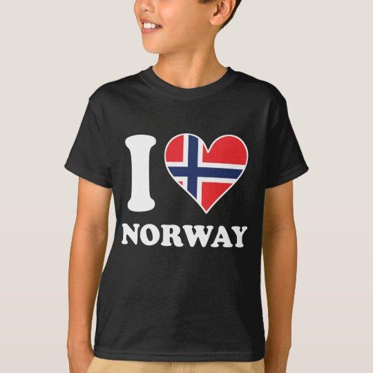 I Love Norway Norwegian Flag Heart T-Shirt