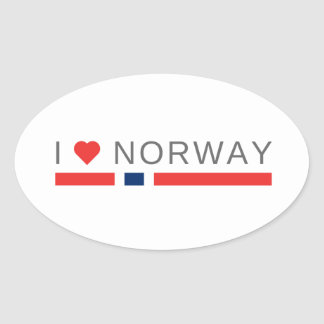 I love Norway Oval Sticker