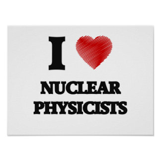 I love Nuclear Physicists (Heart made from words) Poster