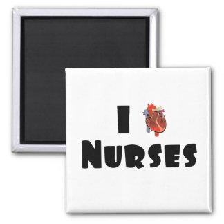 I love nurses square magnet