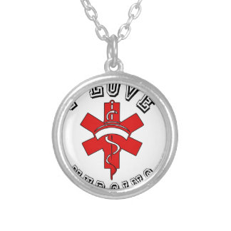 i love nursing health silver plated necklace