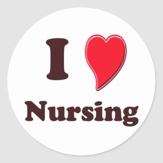 I Love Nursing Round Sticker
