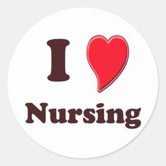 I Love Nursing Round Sticker