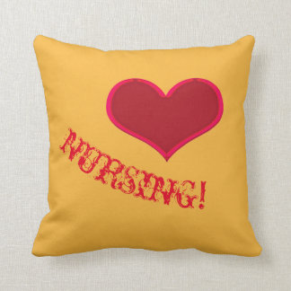 I LOVE NURSING! Yellow Throw Pillow
