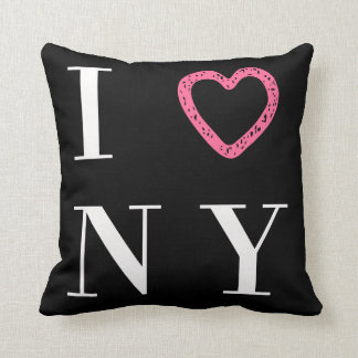 I Love NY reversible pillow - black, white, pink