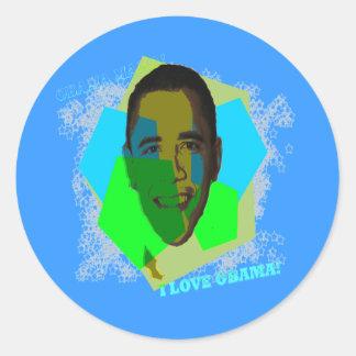 I LOVE OBAMA! STICKER! ROUND STICKER