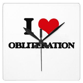 I Love Obliteration Square Wall Clocks
