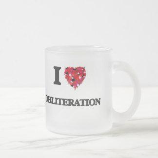 I Love Obliteration Frosted Glass Mug