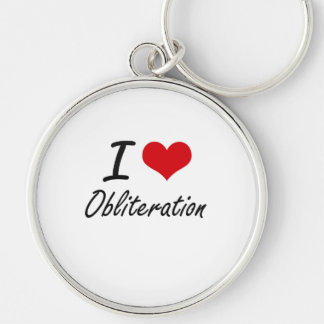 I Love Obliteration Silver-Colored Round Key Ring