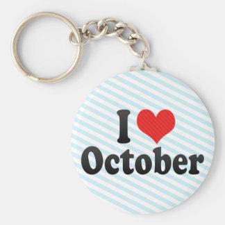 I Love October Keychains