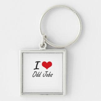 I Love Odd Jobs Silver-Colored Square Key Ring