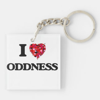 I Love Oddness Double-Sided Square Acrylic Key Ring