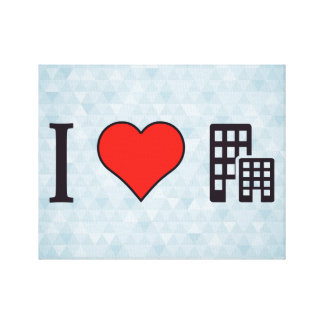 I Love Office Building Stretched Canvas Print