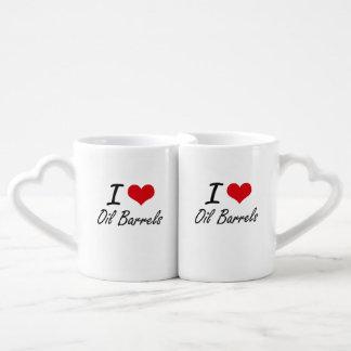 I Love Oil Barrels Lovers Mug Set