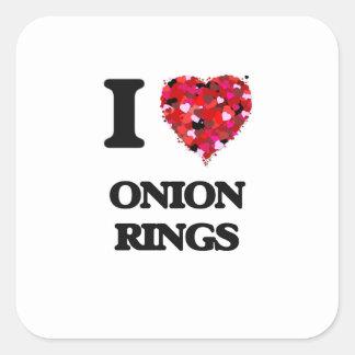 I Love Onion Rings Square Sticker