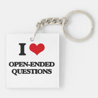I Love Open-Ended Questions Square Acrylic Key Chain