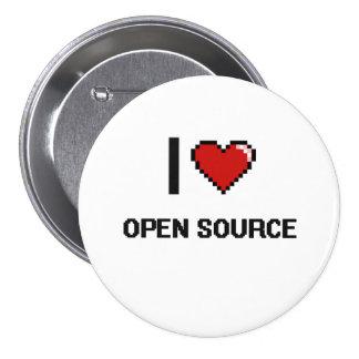 I Love Open Source Digital Retro Design 7.5 Cm Round Badge
