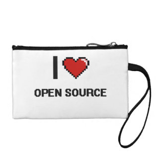 I Love Open Source Digital Retro Design Change Purses